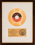 "Music Memorabilia:Awards, Spinners ""One Of A Kind (Love Affair)"" RIAA White Mat Gold RecordSales Award (Atlantic Records 45-2962, 1973). ..."