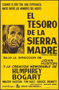 "The Treasure of the Sierra Madre (David Goldberg, R-1950s). Argentinean Poster (28.25"" X 43""). Film Noir"