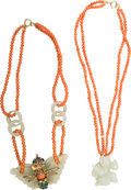 Asian:Chinese, Two Chinese Carved Jade and Coral Necklaces. 15-1/2 inches long(39.4 cm) (chain length, each, including pendants). Specia...(Total: 2 Items)