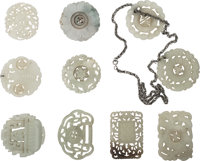 A Group of Ten Chinese Carved Jade and Hardstone Plaques and Bi Discs 2-1/4 inches diameter (5.7 cm) (average)