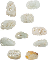 Ten Chinese Carved Jade Toggles 2-3/8 inches long (6.0 cm) (longest)