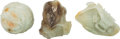 Asian:Chinese, Three Chinese Carved Jade Brush Washers. 3-5/8 inches wide (9.2 cm)(widest). ... (Total: 3 Items)