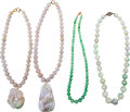 Asian:Chinese, Four Chinese Jadeite Beaded Necklaces. 17-7/8 inches long (45.4 cm)(longest, chain length). ... (Total: 4 Items)
