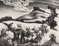 Fine Art - Work on Paper:Print, Thomas Hart Benton (American, 1889-1975). Cradling Wheat,1939. Lithograph. 9-1/2 x 11-7/8 inches (24.1 x 30.2 cm) (imag...