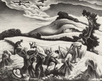 Thomas Hart Benton (American, 1889-1975) Cradling Wheat, 1939 Lithograph 9-1/2 x 11-7/8 inches (2
