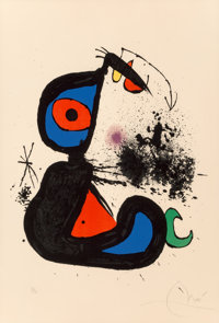 Joan Miró (Spanish, 1893-1983) Mangeur de Foudre II, 1973 Lithograph in colors on Arches paper 35