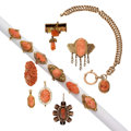 Estate Jewelry:Lots, Coral, Diamond, Gold, Yellow Metal Jewelry. ... (Total: 13 Items)