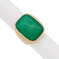 Estate Jewelry:Rings, Chrysoprase, Gold Ring. . ...