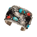 Estate Jewelry:Bracelets, Turquoise, Coral, Claw, Sterling Silver Cuff Bracelet. . ...