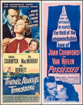 "Movie Posters:Drama, There's Always Tomorrow & Others Lot (Universal International,1956). Inserts (4) (14"" X 36""). Drama.. ... (Total: 4 Items)"