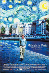 """Midnight in Paris (Sony Pictures Classics, 2011). One Sheet (27"""" X 4"""") DS. Comedy"""