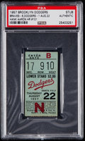 Baseball Collectibles:Tickets, 1957 Brooklyn Dodgers Ticket Stub - PSA Authentic, Dodgers vsBraves - Aaron HR #101. ...