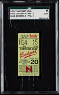 Baseball Collectibles:Tickets, 1955 Brooklyn Dodgers Doubleheader Ticket Stub - SGC Authentic,Dodgers vs Phillies. ...