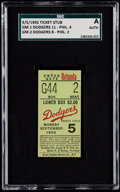 Baseball Collectibles:Tickets, 1955 Brooklyn Dodgers Doubleheader Ticket Stub - SGC Authentic,Dodgers vs. Phillies. ...