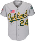Baseball Collectibles:Uniforms, 1990 Rickey Henderson World Series Game Worn Oakland Athletics Jersey with Team Letter, MEARS A10. ...