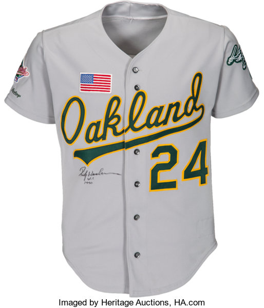 1990 Rickey Henderson World Series Game Worn Oakland  52e637c28