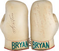 Boxing Collectibles:Autographs, 1975 Muhammad Ali and Joe Frazier Boxing Gloves Signed a Day Before Thrilla in Manila....