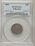 Early Dimes, 1805 10C 4 Berries Fine 12 PCGS. PCGS Population: (27/315). NGCCensus: (1/25). CDN: $975 Whsle. Bid for problem-free NGC/P...