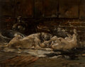 Fine Art - Painting, American:Antique  (Pre 1900), Walter Shirlaw (American, 1838-1909). Mastiffs at Play. Oilon panel. 14-3/4 x 18-1/4 inches (37.5 x 46.4 cm). Signed lo...