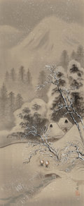 , Pair of Japanese Ink and Watercolor on Silk Paintings Depicting Winter Scenes. 40 x 16-1/2 inches (101.6 x 41.9 cm) (sight, ... (Total: 2 Items)