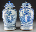 Asian:Chinese, A Pair of Chinese Blue and White Porcelain Covered Ginger Jars.17-1/2 inches high (44.5 cm). ... (Total: 2 Items)