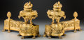 Metalwork, A Pair of Louis XVI-Style Gilt Bronze Chenets. 13 h x 17 w x 6-1/2 d inches (33.0 x 43.2 x 16.5 cm). ... (Total: 2 Items)