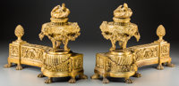 A Pair of Louis XVI-Style Gilt Bronze Chenets 13 h x 17 w x 6-1/2 d inches (33.0 x 43.2 x 16.5 cm)