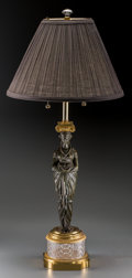 Decorative Arts, French:Lamps & Lighting, An Empire-Style Gilt and Patinated Bronze, Brass, and Cut-GlassLamp, late 20th century. 35 inches high (88.9 cm) (overall)...(Total: 2 Items)