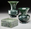 Asian:Chinese, A Near Pair of Chinese Hardstone Vases and a Table Box. 5 incheshigh (12.7 cm) (taller vase). ... (Total: 3 Items)