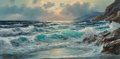 Fine Art - Painting, American:Modern  (1900 1949)  , Alexander Dzigurski (Russian/American, 1911-1995). IncomingTide. Oil on canvas. 24 x 48 inches (61.0 x 121.9 cm). Signe...