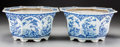 Asian:Chinese, A Pair of Chinese Blue and White Porcelain Jardinières, late 20thcentury. 8-1/2 inches high x 15-1/2 inches wide (21.6 x 39...(Total: 2 Items)