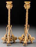 Decorative Arts, British:Other , A Pair of Gilt Bronze Figural Candlesticks, 20th century. 12-3/4inches high (32.4 cm). ... (Total: 2 Items)