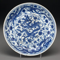 A Rare and Important Chinese Blue and White Dragon Dish, Ming Dynasty, Zhengde Perio