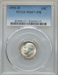 Roosevelt Dimes, 1951-D 10C MS67+ Full Bands PCGS. PCGS Population: (80/5 and 16/0+). NGC Census: (74/1 and 3/0+). Mintage 56,529,000. ...
