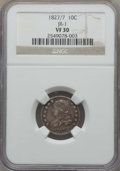 Bust Dimes: , 1827/7 10C Pointed Top 1, JR-1, R.2, VF30 NGC. Mintage 1,300,000....