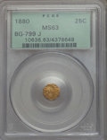 California Fractional Gold , 1880 25C Indian Octagonal 25 Cents, BG-799J, R.3, MS63 PCGS. PCGSPopulation: (27/84). NGC Census: (2/21). ...