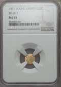 California Fractional Gold : , 1871 25C Liberty Round 25 Cents, BG-813, R.3, MS63 NGC. NGC Census:(13/16). PCGS Population: (47/53). ...