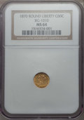 California Fractional Gold , 1870 50C Liberty Round 50 Cents, BG-1010, R.3, MS64 NGC. NGCCensus: (13/11). PCGS Population: (43/25). ...