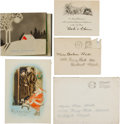 Baseball Collectibles:Others, 1929-36 Babe Ruth Christmas Cards Lot of 3 from The Beatrice WadeCollection....