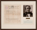 Autographs:Statesmen, Sam Houston Land Grant Signed as Governor of Tennessee....