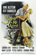 "Movie Posters:Drama, Stranger in My Arms (Universal International, 1959). One Sheet (27"" X 41""). Jeffrey Chandler is an Air Force pilot who is ho..."