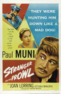 "Movie Posters:Drama, Stranger on the Prowl (United Artists, 1953). One Sheet (27"" X 41""). Paul Muni is a man on the run from a murder charge who ..."