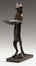 Sculpture, DIEGO GIACOMETTI (Swiss 1902-1985). Chat maître d'hôtel . Bronze with brown patina. 12 inches (30.5 cm). Inscribed on ba...
