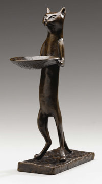 DIEGO GIACOMETTI (Swiss 1902-1985) Chat maître d'hôtel Bronze with brown patina 12 inches (30.5