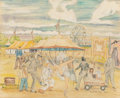 Fine Art - Work on Paper:Drawing, Reynolds Beal (American, 1867-1951). At the Circus, 1928.Colored pencil and watercolor on paper. 15 x 18 inches (38.1 x...