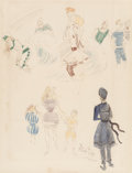 Fine Art - Work on Paper:Drawing, Cecil Beaton (British, 1904-1980). Bathing Suit Studies.Watercolor, crayon, and ink on paper. 17-1/4 x 13-1/4 inches (4...