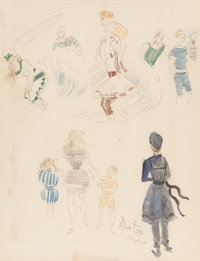 Cecil Beaton (British, 1904-1980) Bathing Suit Studies Watercolor, crayon, and ink on paper 17-1/