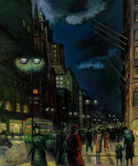 Ernest Fiene (American, 1894-1965) 5th Avenue and East 54th Street at Night Oil on canvas 30 x 25