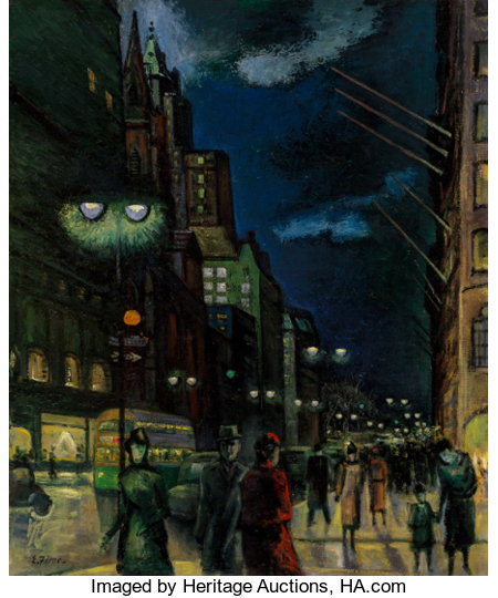 Ernest Fiene (American, 1894-1965)5th Avenue and East 54th Street at NightOil on canvas30 x 25 inches (76.2 x 63.5...