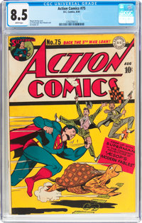 Action Comics #75 (DC, 1944) CGC VF+ 8.5 White pages